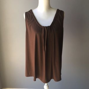 Just My Size Brown Braided Collar Tank 1X
